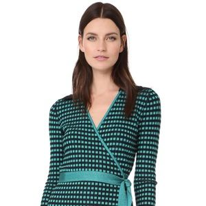 Diane Von Furstenberg Banded Knit Wrap Dress Aqua